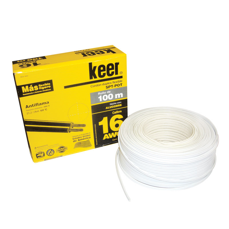 Rollo de cable dúplex flexible POT calibre 16 blanco