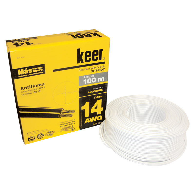 Rollo de cable dúplex flexible POT calibre 14 blanco