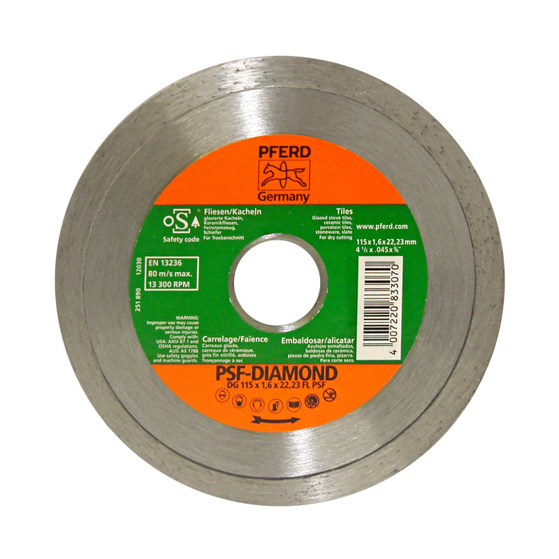 "Disco diamante 4-1/2"" x 7/8"" liso PFERD"
