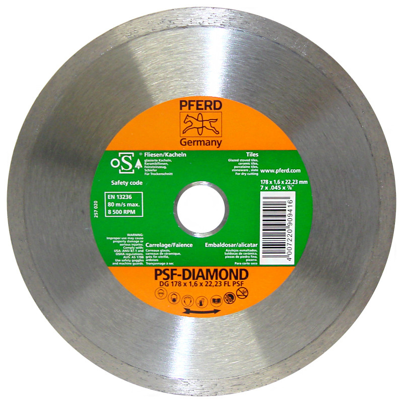 "Disco diamante 7"" x 7/8"" liso PFERD"