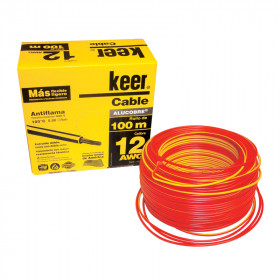 Rollo de cable THW calibre 12 AWG rojo
