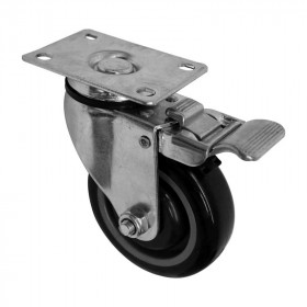 "Rodaja para carrito de super placa giratoria con freno 4 x 1 1/4"" Weston"