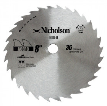 "Sierra circular de diente grueso 8"" Nicholson"