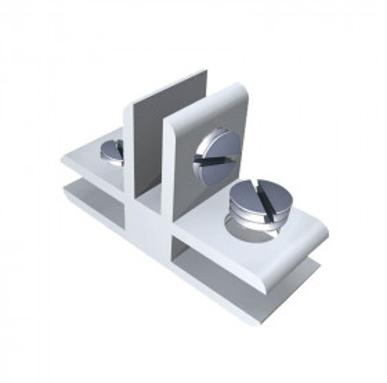 "Conector para vidrio ""T"" con opresores Herralum"